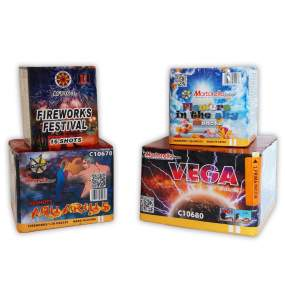 """STARTER PACKS 1 - BOX 4 fireworks show package - 126 total launches - 4 products - time: 2'30"""" - COD. START01"""
