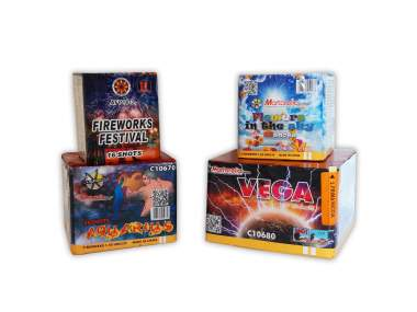 """KIT BIRTHDAY 100 - BOX 4 fireworks show package - 126 total launches - 4 products - time: 2'30"""" - COD. START01"""