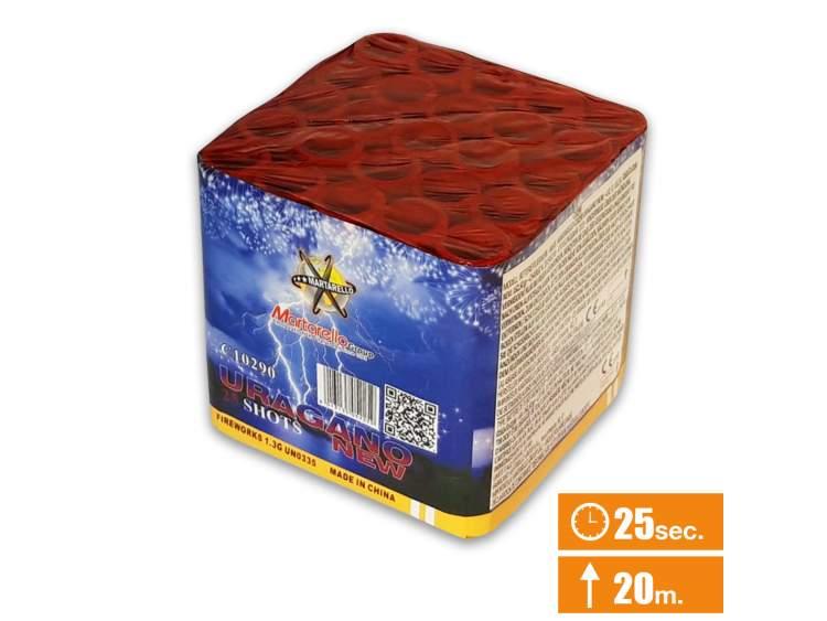 URAGANO Spettacolo pirotecnico 25 lanci di fuochi d'artificio con:-Scie crackling con aperture di stelle rosse, viola, oro, arancioni e verdi. Questa batteria è adatta a feste di compleanno. COD. C10290 (1)