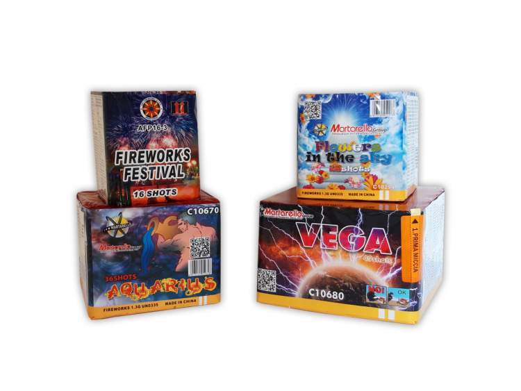 """KIT BIRTHDAY 100 - BOX 4 fireworks show package 126 total launches - 4 products - time: 2'30"""" COD. START01 (1)"""