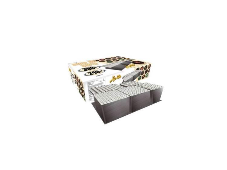 SHOW BOX SUPER- SPETTACOLO 390 FUOCHI D'ARTIFICIO Spettacolo pirotecnico di 390 lanci di fuochi d'artificio con:-aperture di peonie oro crackling-stelle rosse, verdi e arancioni-stelle viola con effetto multiflash argento e rosso lampeggiante-lancio ad ola sequenziale di peonie salice oro COD. 752 (1)